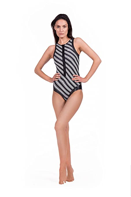 GlideSoul Women s Black Pearl Collection One Piece Swimsuit front zipper 015297eec