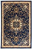 Antep Rugs ORIENTAL WAVE Collection HAREM Oriental Area Rug NAVY/IVORY 4'1″ X 6′(49″ X 69″) For Sale