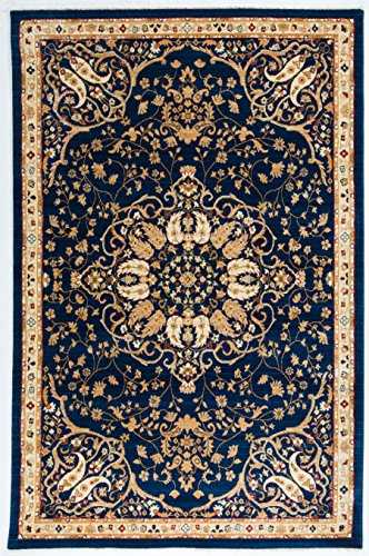 Antep Rugs ORIENTAL WAVE Collection HAREM Oriental Area Rug NAVY/IVORY 4'1