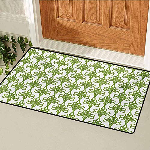 GUUVOR Irish Welcome Door mat Entangled Clover Leaves Twigs Celtic Pattern Botanical Filigree Inspired Retro Tile Door mat is odorless and Durable W15.7 x L23.6 Inch Green Cream