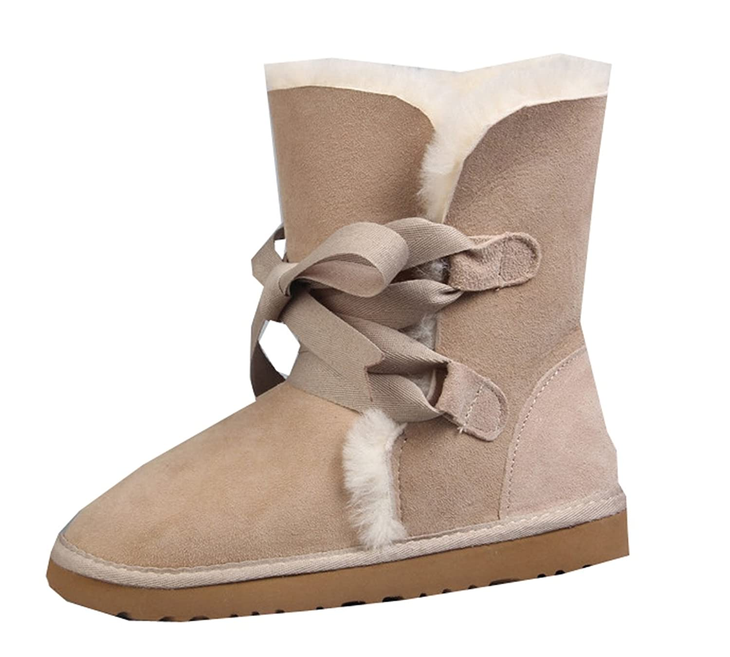 Pinklily Women's Solid Wool Simple Snow Boots