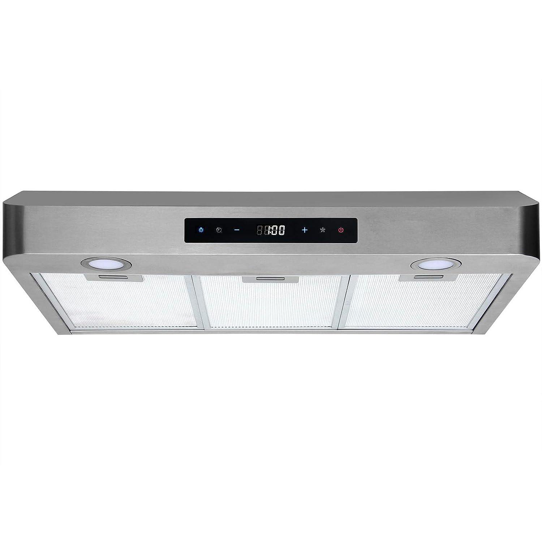 Range Hood 30 Inch Under Cabinet Stainless Steel Kitchen Fan, 3 Speeds Touch Control 350 CFM Stove Exhaust Vent WL-0071030 BHI