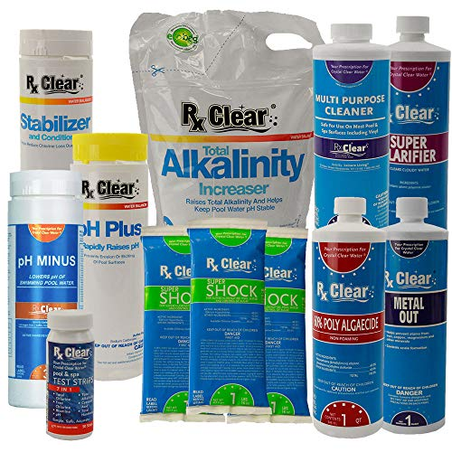 (Rx Clear Deluxe Spring Chemical Opening Pool Cleaning Kit | for Pools Up to 7,500 Gallons | Includes Shock, Clarifier, pH Minus, Algaecide and More)
