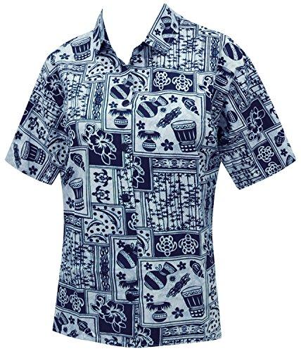 árbol de bambú hawaiano camisas impresas blusas para mujer floral de cuello mangas cortas azul marino