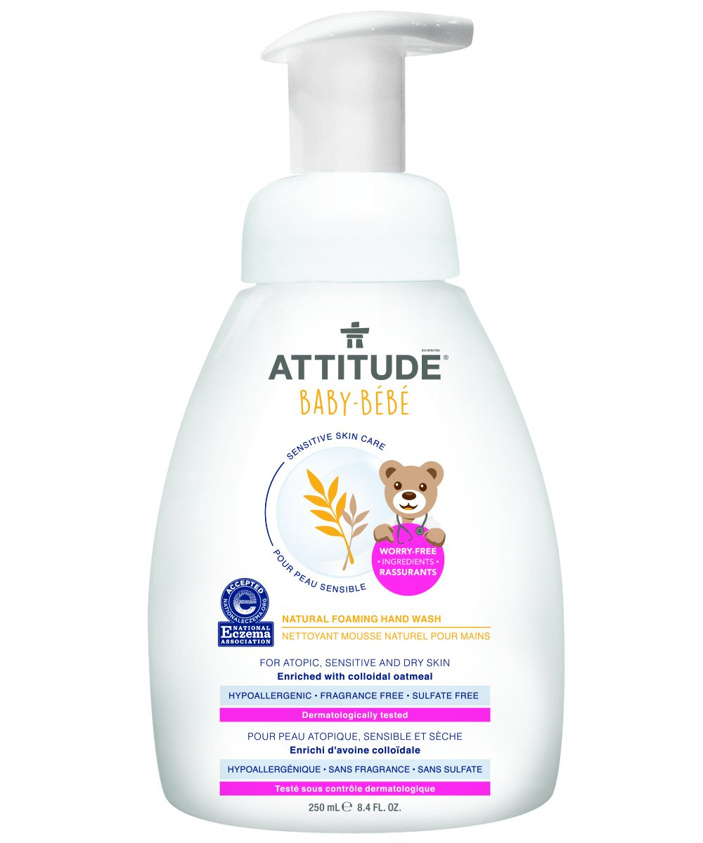 Attitude Natural Foaming Hand Wash Baby, Fragrance Free, 8.4 Fluid Ounce