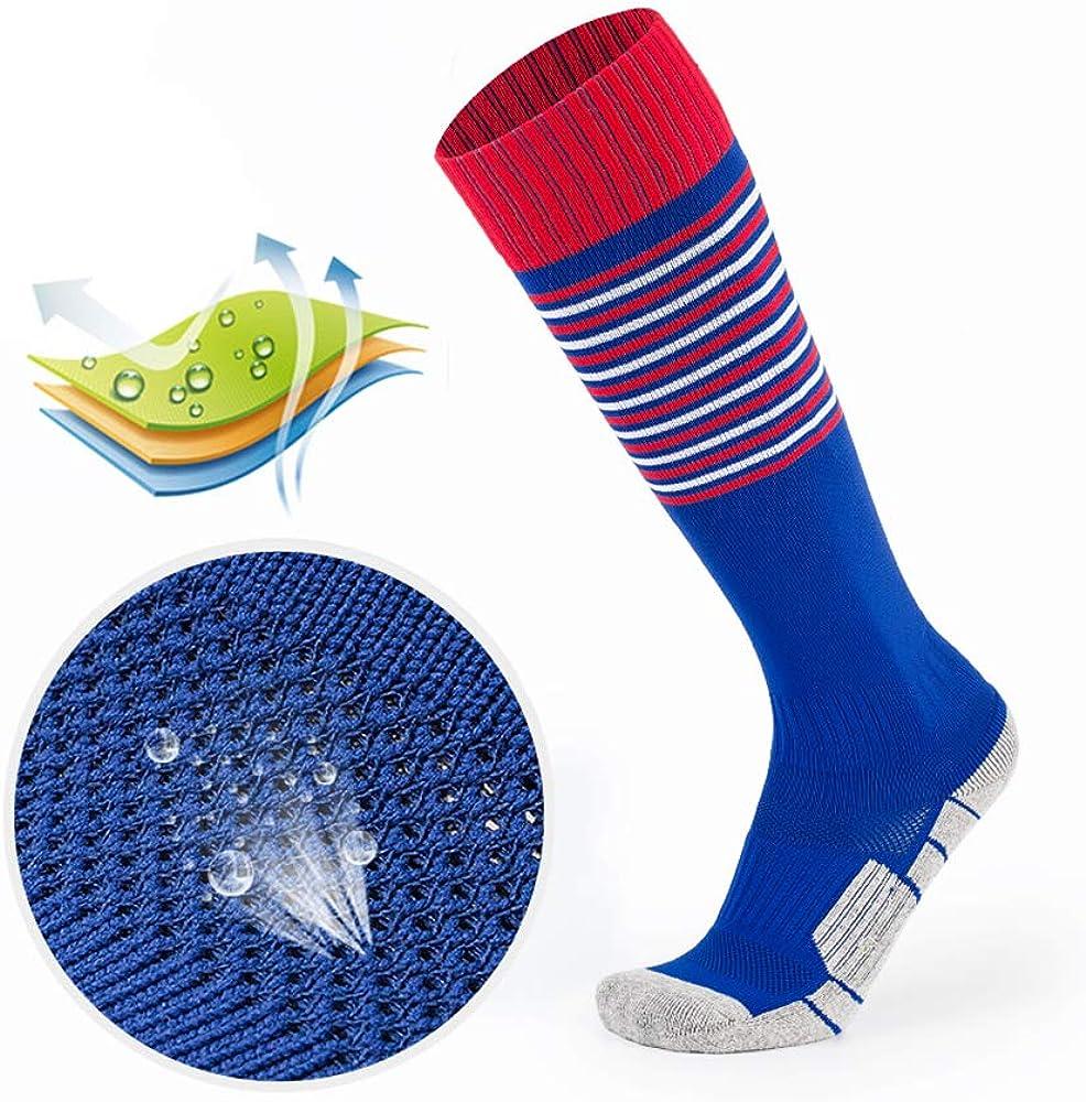 DONGAN Kids Soccer Socks Little Boys Girls Knee High Cotton Athletic Stripe Compression Football Sport Long Socks