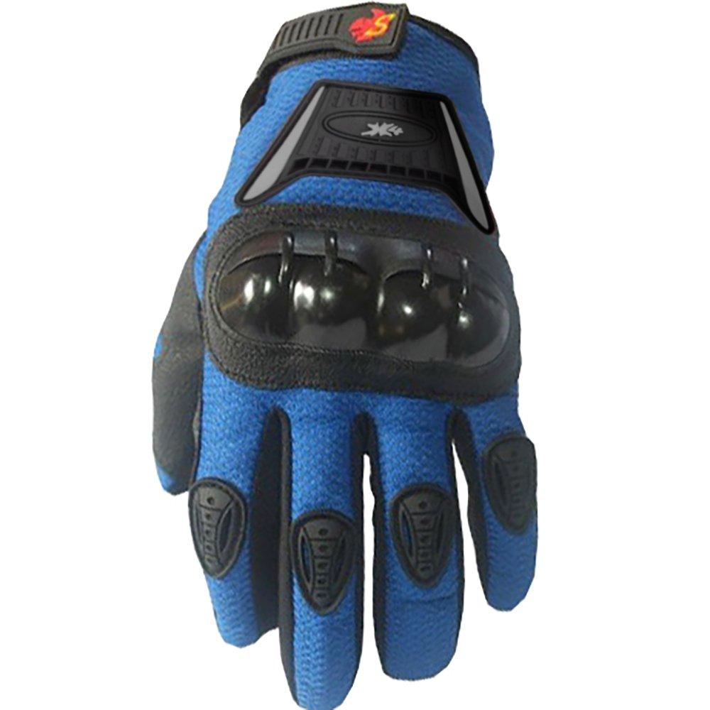 Street Bike Full Finger Motorcycle Gloves 09 (Youth_L, Blue)