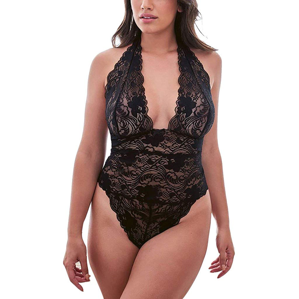 Clearance!Women Plus Size Sleepwear, Lady Lace Teddy Lingerie Backless Nightdress Sexy Open Corset Intimates Girdle Waist Bodysuit