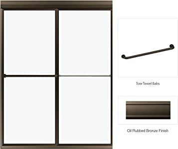 """Deluxe Framed Bypass Sliding Enclosure Clear Glass 45""""-47"""" W x 71.5"""" H Oil Rubbed Bronze Finish by Fab Glass and Mirror"""