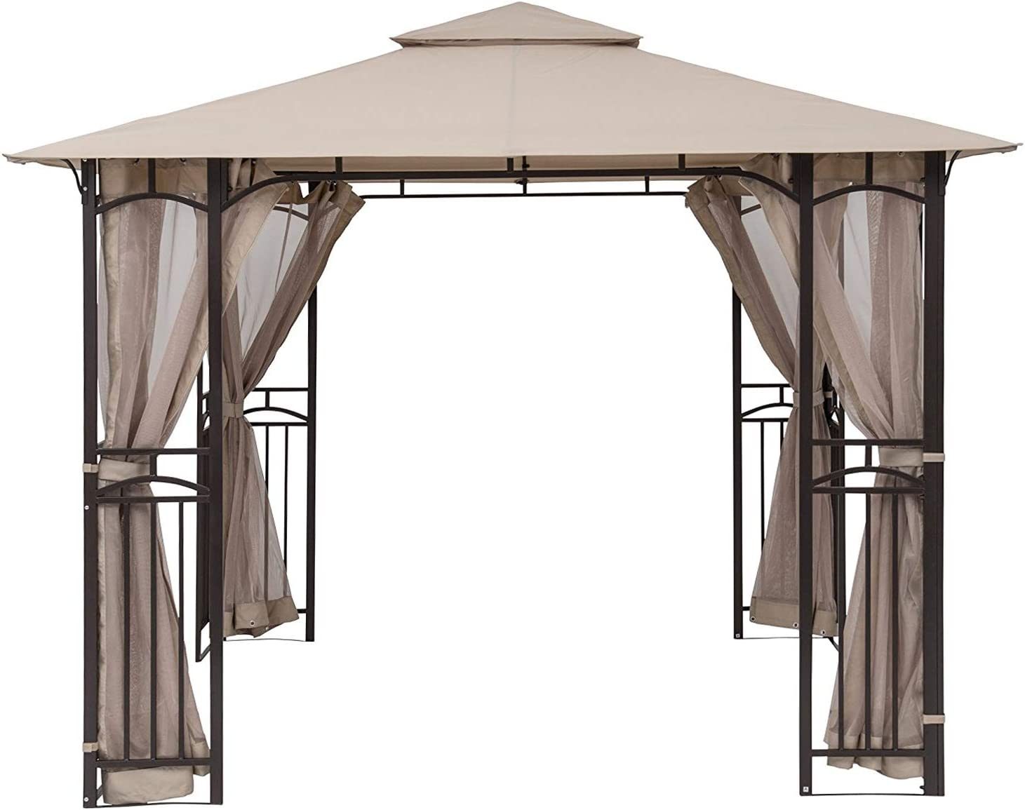 Outsunny 4 Pack Universal Gazebo Replacement Sidewalls Privacy Panel for Most 3 x 3m Gazebo Canopy Pavillion Outdoor Shelter Curtains Accessories Beige