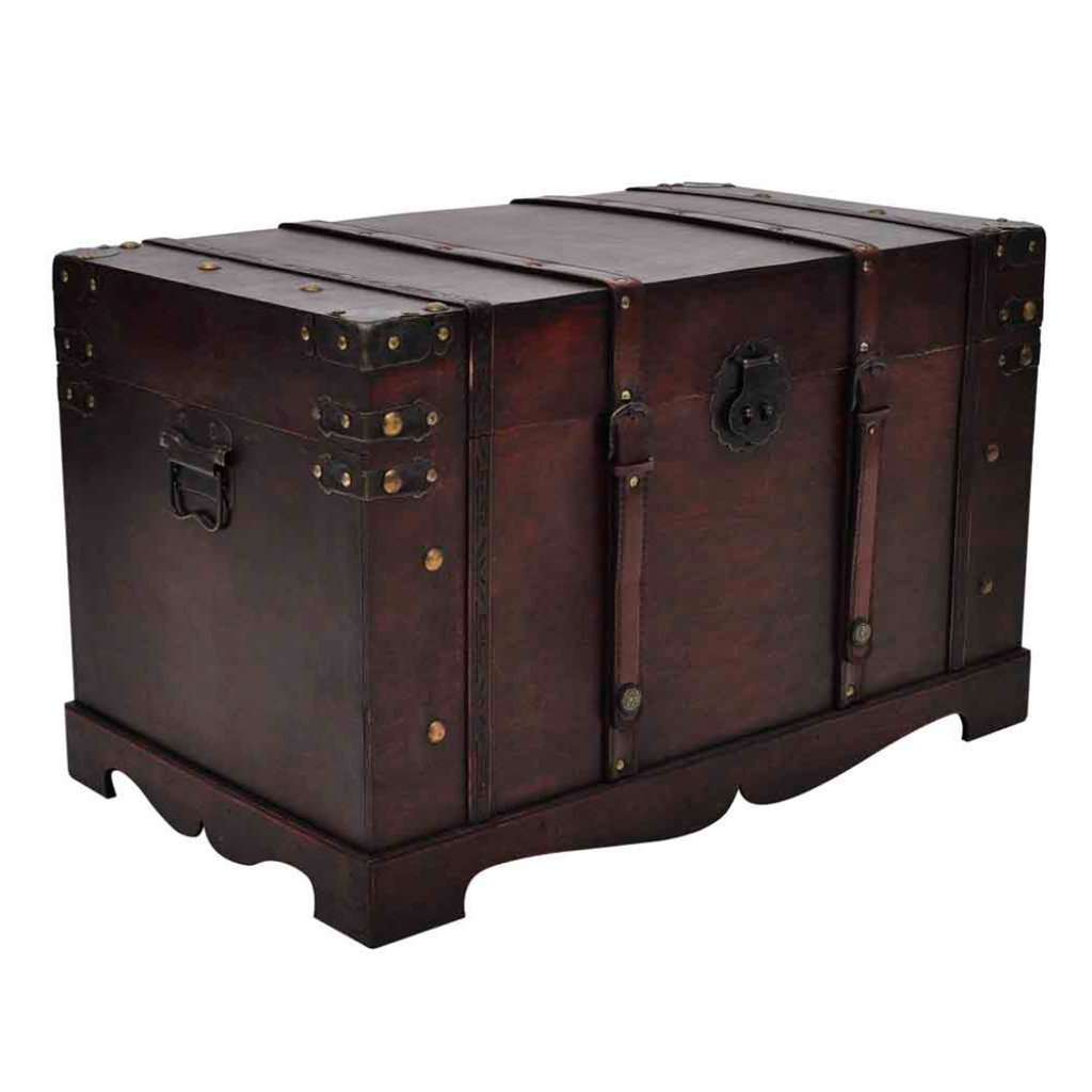 Anself Vintage Large Wooden Treasure Box, Old Style Treasure Chest