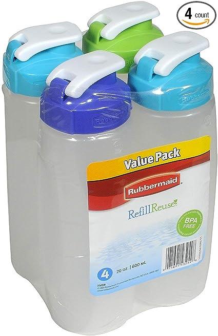 Rubbermaid 20-Ounce Refill Plastic Bottle Pack of 4