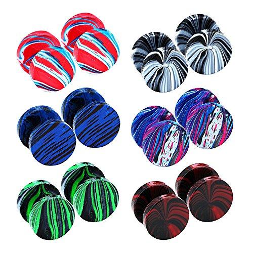 Stud Fake Plug - JewelrieShop Assorted Colors Stud Earrings Set Mens Women Stainless Steel Ear Plugs Tunnel Ear Piercing Fake Gauges