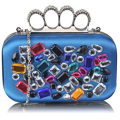 TrendStar - Cartera de mano mujer Azul - Blue Crystal Clutch Bag