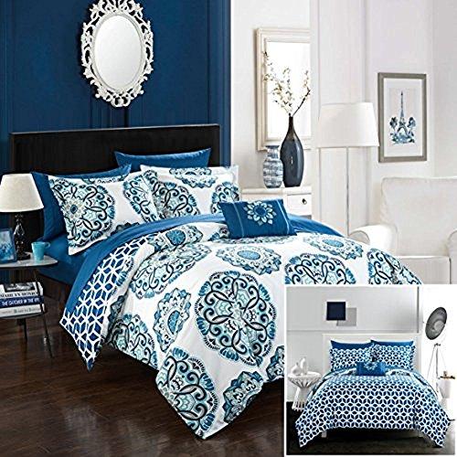 Chic Home Barcelona 8 Piece Reversible Comforter Set, Full/Queen, Blue,