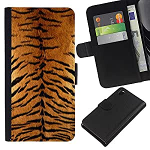 - WILD BIG TIGER CAT ANIMAL PATTERN FURRY - - Prima caja de la PU billetera de cuero con ranuras para tarjetas, efectivo desmontable correa para l Funny House FOR Sony Xperia Z3 D6603
