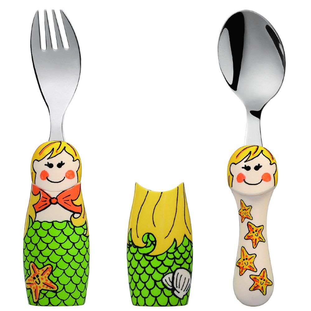 Eat4Fun Duo Collection Kids Fork & Spoon, Mermaid