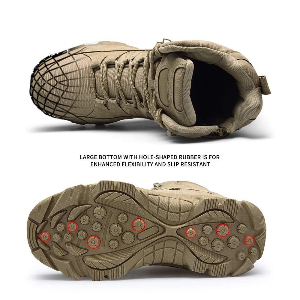 ENLEN&BENNA Men's Desert Boots Tactical Combat Boots Military Boots Tan Composite Toe Side Zipper Lightweight Brown by ENLEN&BENNA (Image #4)