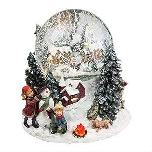 Caja De Música Grande De La Bola De Cristal del Árbol De Navidad, Destello Automático del Copo De Nieve Soplado con La Caja De Música De La Navidad: Amazon.es: Hogar