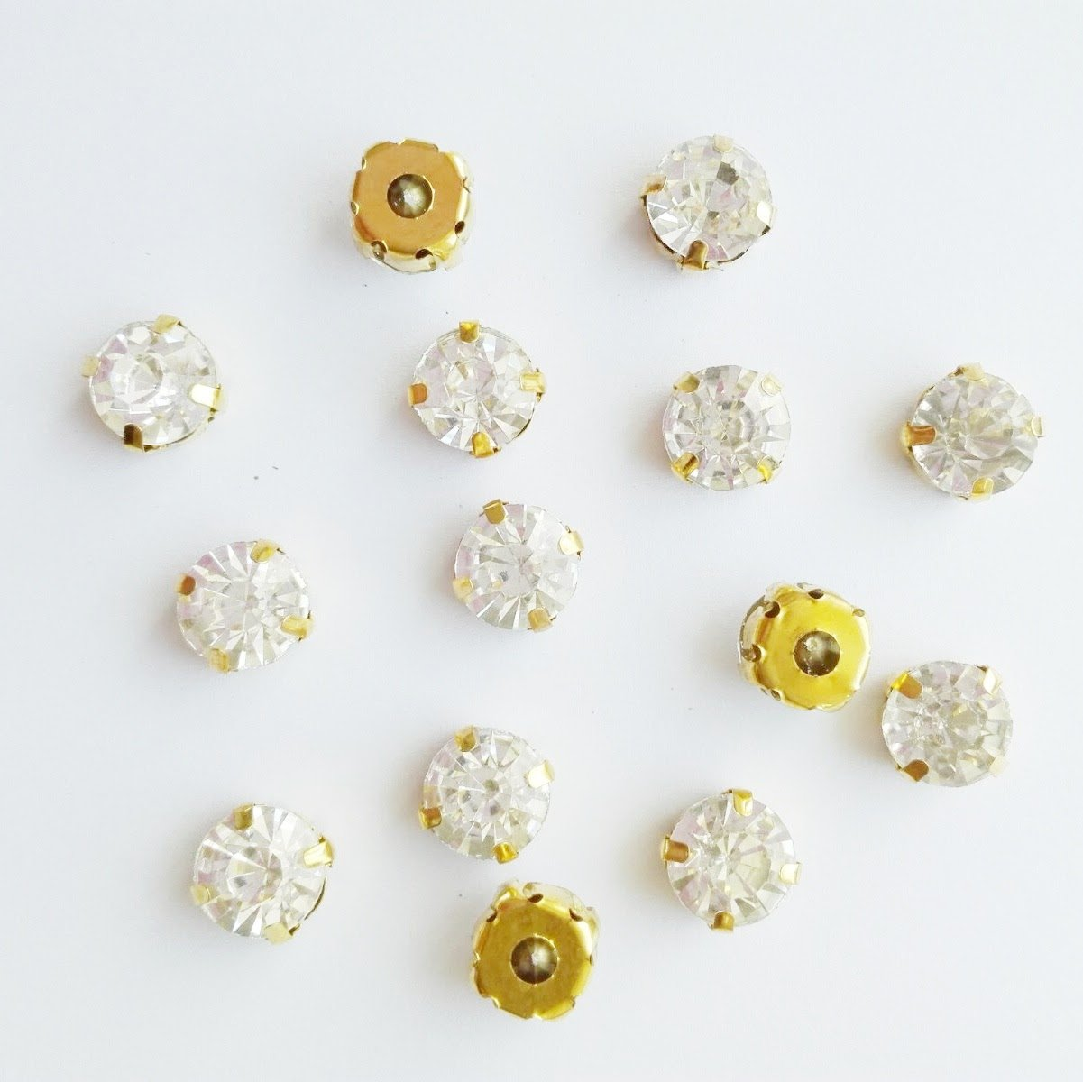 4.5mm 80pcs, Crystal Greatdeal68 3mm to 8mm Glass Rhinestone Sew-on silver settings with 4 holes Crystal//Crystal AB//Color
