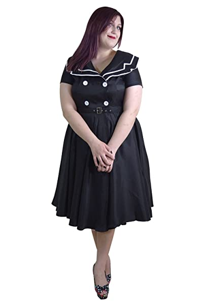 Skelapparel Plus Size Pinup Vintage Sailor Black Satin Flare Swing Dress