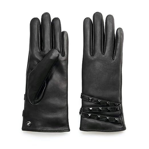 750ea29aca1020 napo gloves napoSTUD - Touchscreen Lederhandschuhe mit Nieten für Damen aus Lammnappa  Leder in Schwarz mit Fütterung für Winter: Amazon.de: Bekleidung