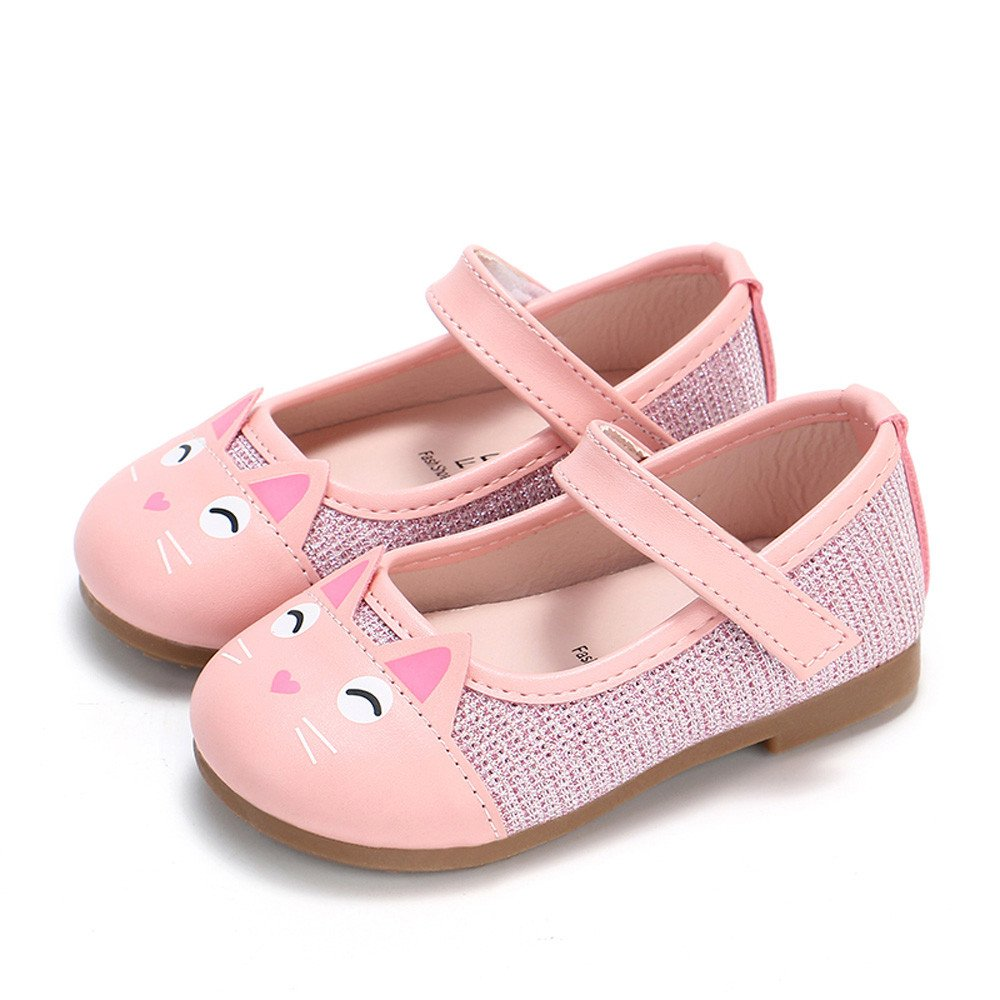 Naladoo Toddler Baby Girls Cute Cartoon Cat Print Leather Princess Single Shoes