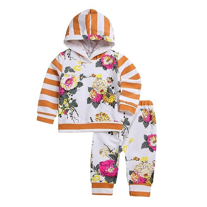 Amazon.com: Conjunto de ropa para bebé, diseño de flores ...