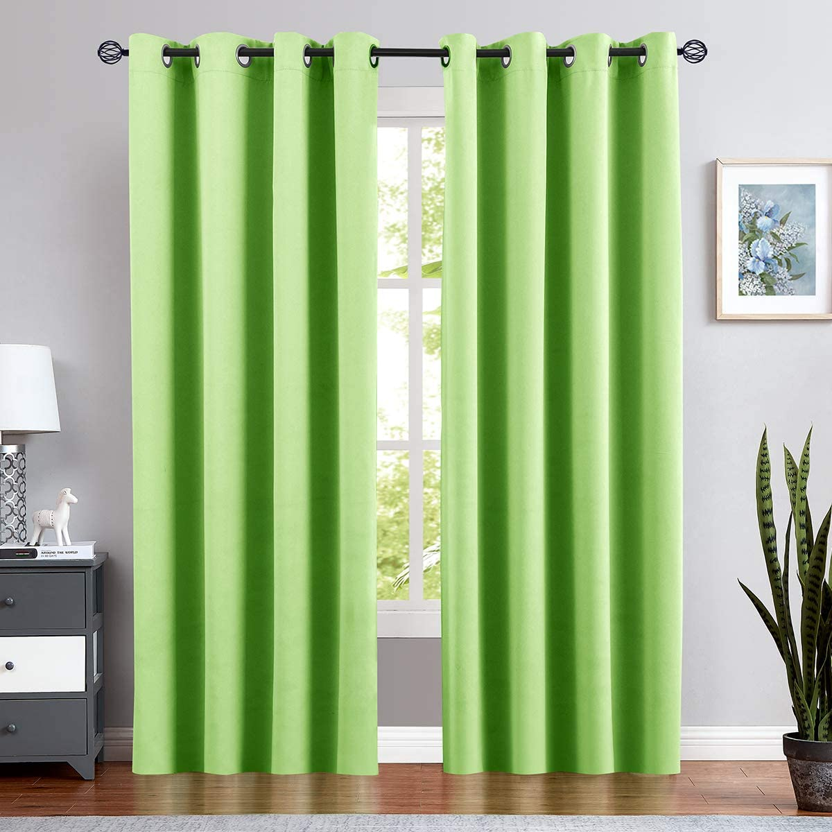 Kids Room Darkening Curtains for Bedroom 95 in Length Nursery Moderate Blackout Curtains for Boy's Room Triple Weave Window Curtains Grommet Top Drapes, 1 Pair, Grass Green