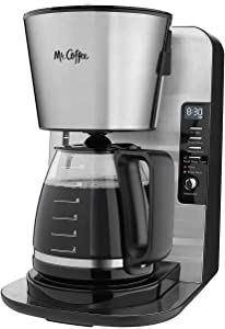 Mr. Coffee 12-Cup Programmable Coffee Maker, Stainless Steel/Black Base - Includes Water Filtration