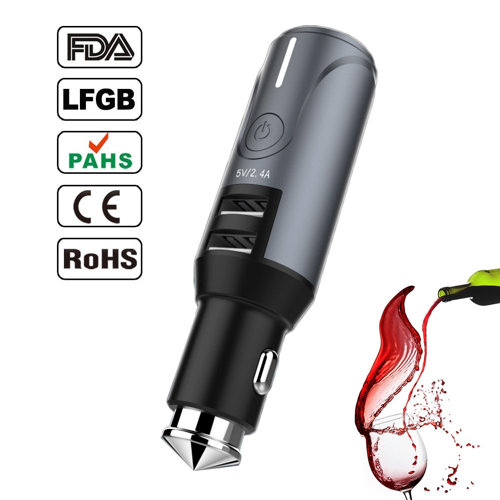 Breathalyzer, Fannel Portable Breath Alcohol Tester with USB Car Charger and Lifesaving Hammer (Black)