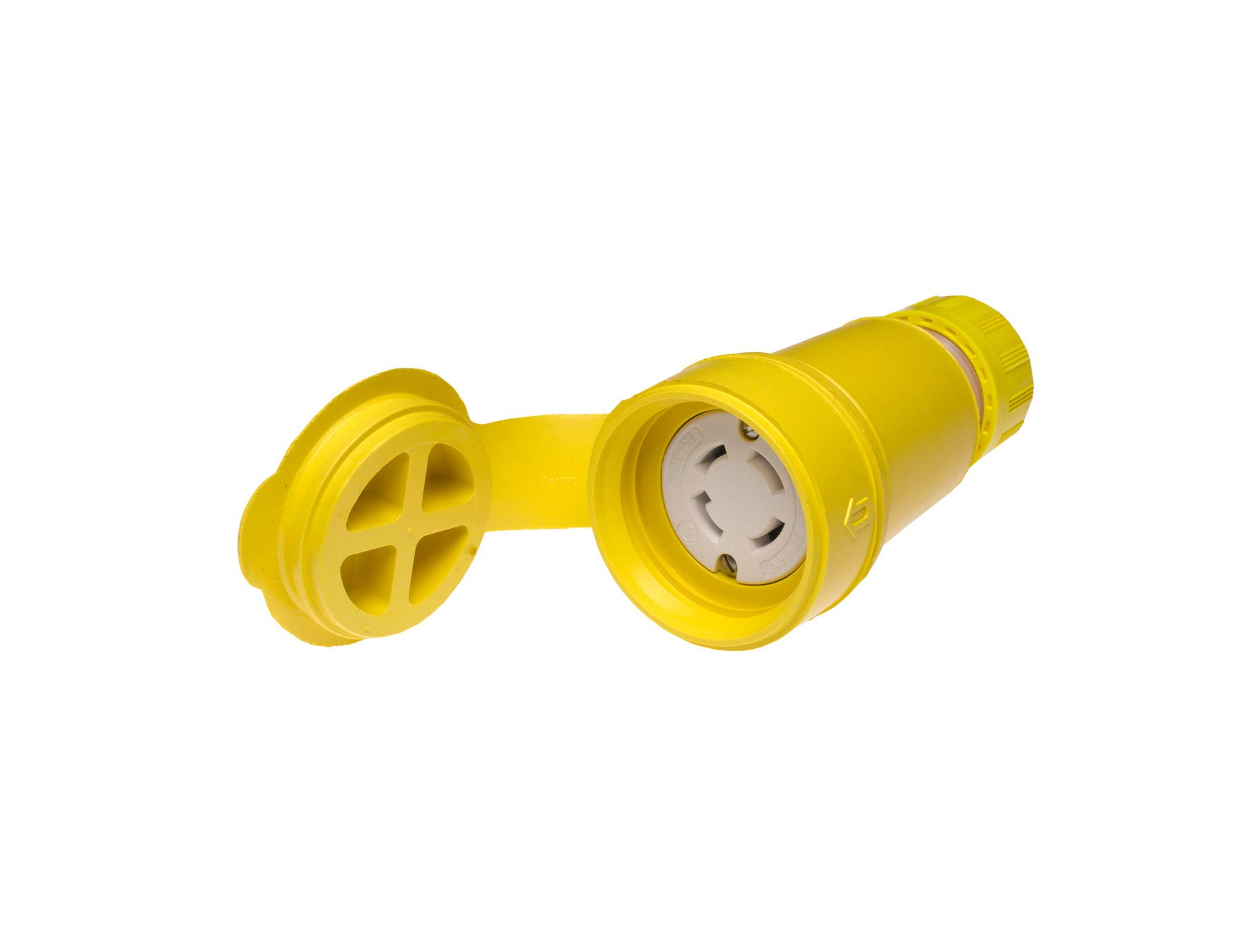 Woodhead 29W75 Watertite Wet Location Locking Blade Connector, 3-Phase, 4 Wires, 3 Poles, NEMA L15-30 Configuration, Yellow, 30A Current, 250V Voltage by Woodhead