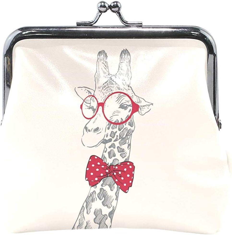Belle Girafe en Cuir Porte-Monnaie Mini-Pochette exquise Boucle Changer de Sac /à Main Portefeuilles dembrayage