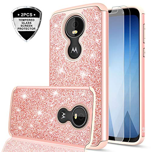 Moto G6 Play Glitter Case with Tempered Glass Screen Protector for Girls Women,LeYi Fashion Sparkly Bling Dual Layer Hybrid Shockproof Protective Phone Cover Case for Motorola G6 Play TP Rose Gold