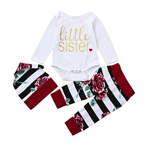 ace504b31785 Amazon.com  Hatoys 3PCS Cute Toddler Baby Girls Letter Floral Print Romper  Jumpsuit + Pants + Hat Outfits Set  Clothing