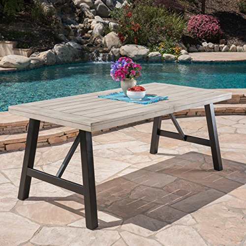 Great Deal Furniture Borocay Outdoor Light Grey Finished Acacia Wood Dining Table