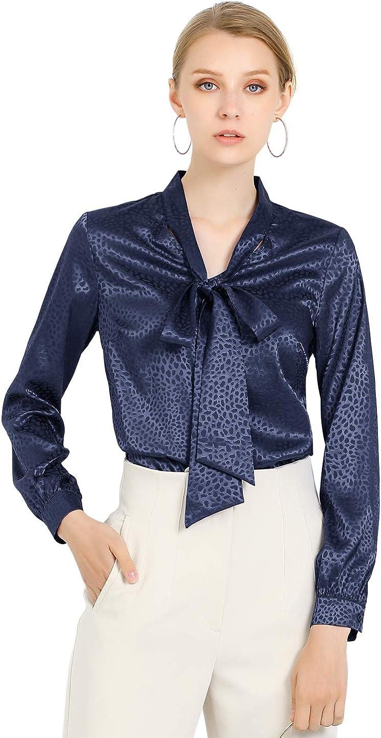 Allegra K Women's Tie Bow Neck Long Sleeve Printed Satin Office Blouse Tops