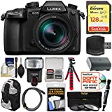 Panasonic Lumix DC-GH5 Wi-Fi 4K Digital Camera & 12-60mm f/2.8-4.0 Lens with 128GB Card + Backpack + Flash + Battery + Tripod + 3 Filters Kit