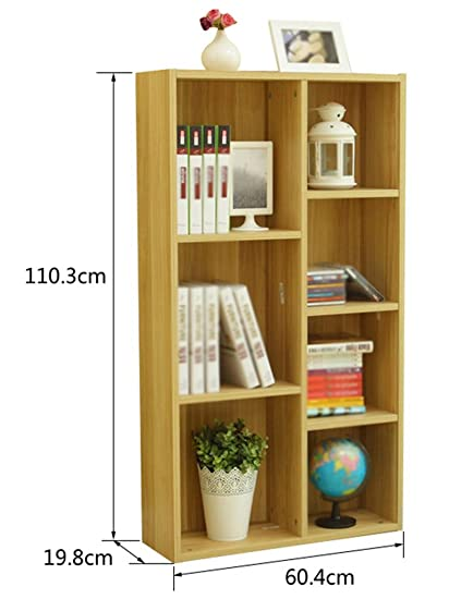 Childrens Bookshelf Shelf Student Small Grid Cabinet Combination Bookcase Floorstanding Color Light Walnut