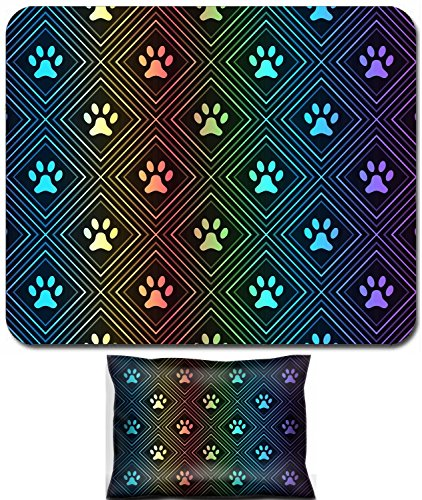 Luxlady Mouse Wrist Rest and Small Mousepad Set, 2pc Wrist Support design IMAGE: 36665938 Seamless animal spectrum pattern of paw footprint in repeating rhombus on black background Dog style Shiny gru]()