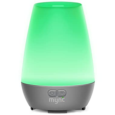Mynt Essential Oil Diffuser Cool Mist 100ml Humidifier 10+ Hours with 7 Colors LED Lights Waterless BPA Free Auto Shut-off for Home Office Bedroom Baby Room