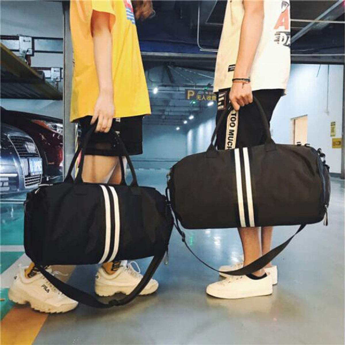 Large-Capacity Gym Bag Male Large-Capacity Travel Bag with Independent Shoe Warehouse Female Hand-held Korean Short-Distance Bag Travel Bag Hongyuantongxun Sports Bag Large Size: 50 15 43cm