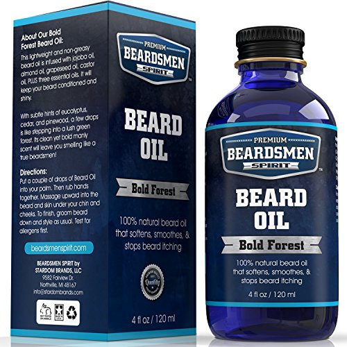 Premium Beard Oil and Conditioner - HUGE 4 oz Bottle - FOUR TIMES LARGER - 100% Natural - Softens Your Beard and Stops Itching - With Nourishing Jojoba Oil, Almond Oil, Plus Three Essential Oils!