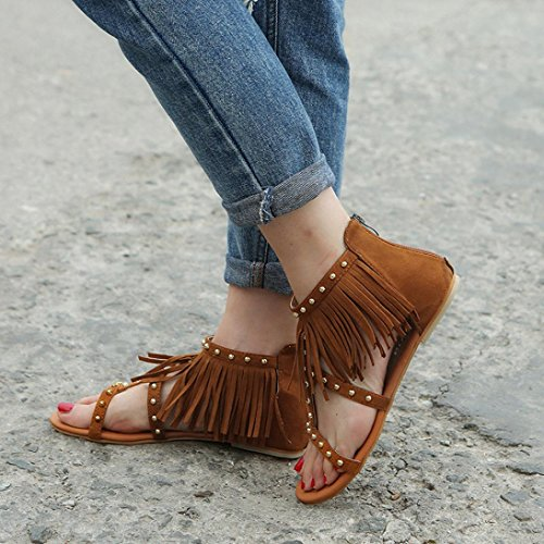 HLHN Woman Sandals,Rome Gladiator Rivet Tassels Ankle Flat Heel Flip Flops Open-Toe Shoes Beach Fashion Casual Vintag Brown