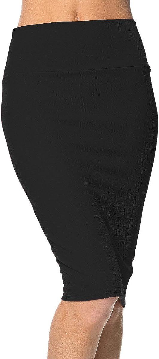 Urban GoCo Falda de Lápiz Corta Estirada de Cintura Alta Bodycon Tubo Falda Oficina por La Rodilla
