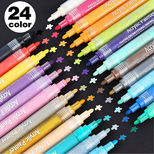 24 Colors Acrylic Paint Markers, Lelix Permanent Acrylic Paint Pens for Rock, Glass Painting, Ceramic, Wood, Canvas, Fabric, Photo Album, DIY Craft Projects, Medium Point