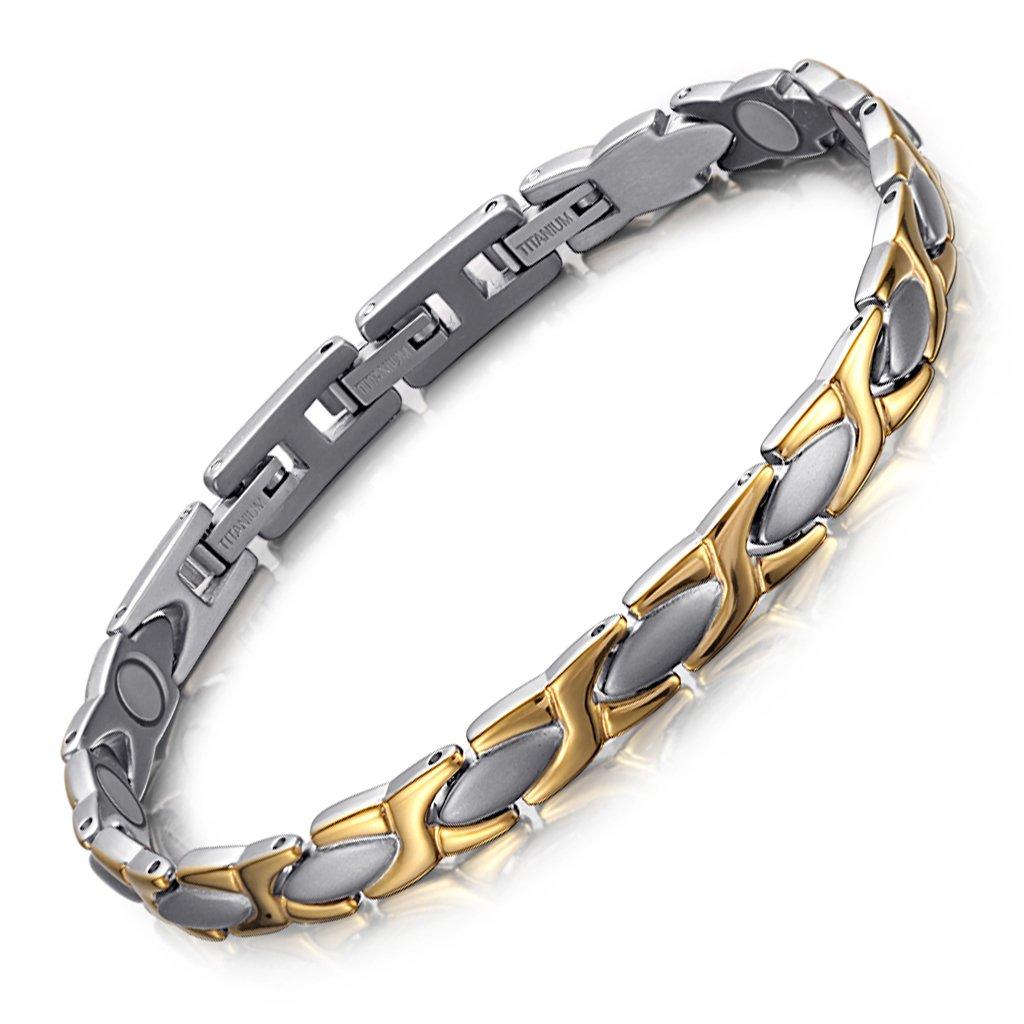 Rainso Elegant Titanium Magnetic Health Bracelet Pain Relief for Arthritis Balance Wristband with 3 Smart Buckle
