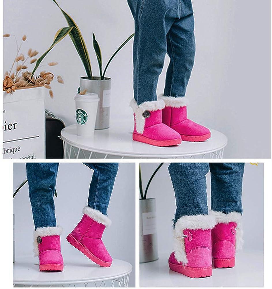 Gaatpot Zapatos Invierno Ni/ña Ni/ño Botas de Nieve Forradas Zapatillas Bot/ón Botines Planas para Unisex Ni/ños 20-35