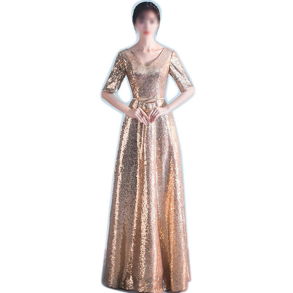 gold Sububblepper Sexy Fashion VNeck Sequined Half Sleeve Elegant Formal Maix Long Dress for Women Formal Occassion (color   bluee, Size   XXL)