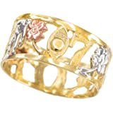 Fine 10k Tri-tone Gold Open Design Good Luck Charm Ring